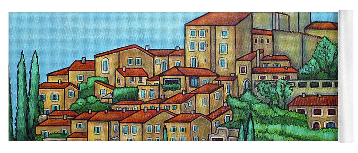 Provence Yoga Mat featuring the painting Colours of Crillon-le-Brave, Provence by Lisa Lorenz