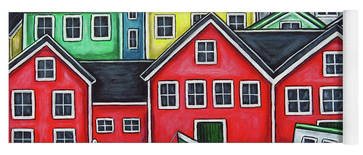 Nova Scotia Yoga Mat featuring the painting Colours of Lunenburg by Lisa Lorenz