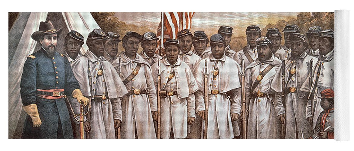 Recruitment; American Civil War; Volunteer; Soldiers; Soldier; Army; Uniform; Flag; Stars And Stripes; General; Drummer; Negro; African-american; Us; Usa; Recruiting; Advertisement; Advert; Propaganda; African American Yoga Mat featuring the painting 'come And Join Us Brothers' by American School