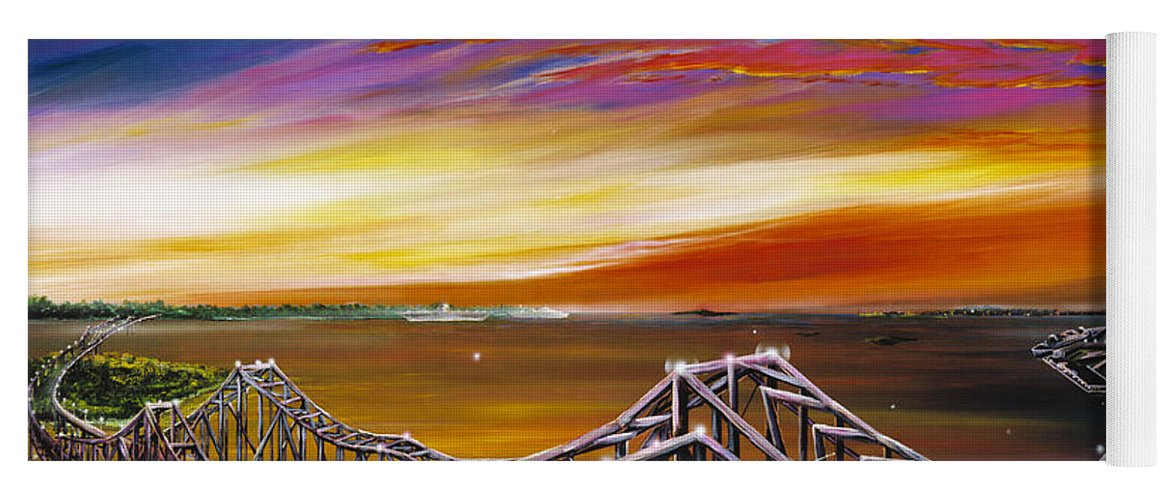 Clouds Yoga Mat featuring the painting Cooper River Bridge by James Christopher Hill