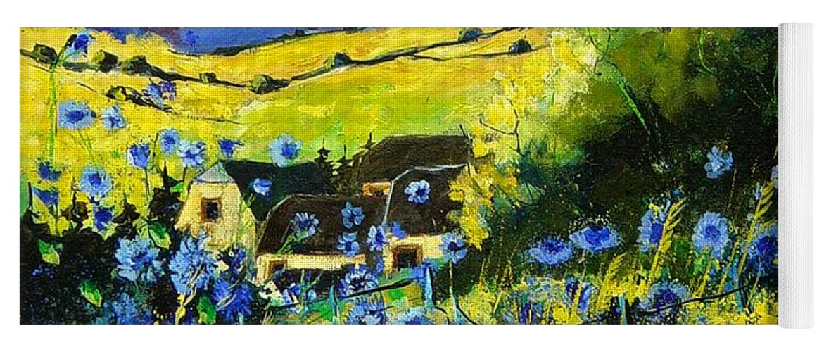 Flowers Yoga Mat featuring the painting Cornflowers In Ver by Pol Ledent