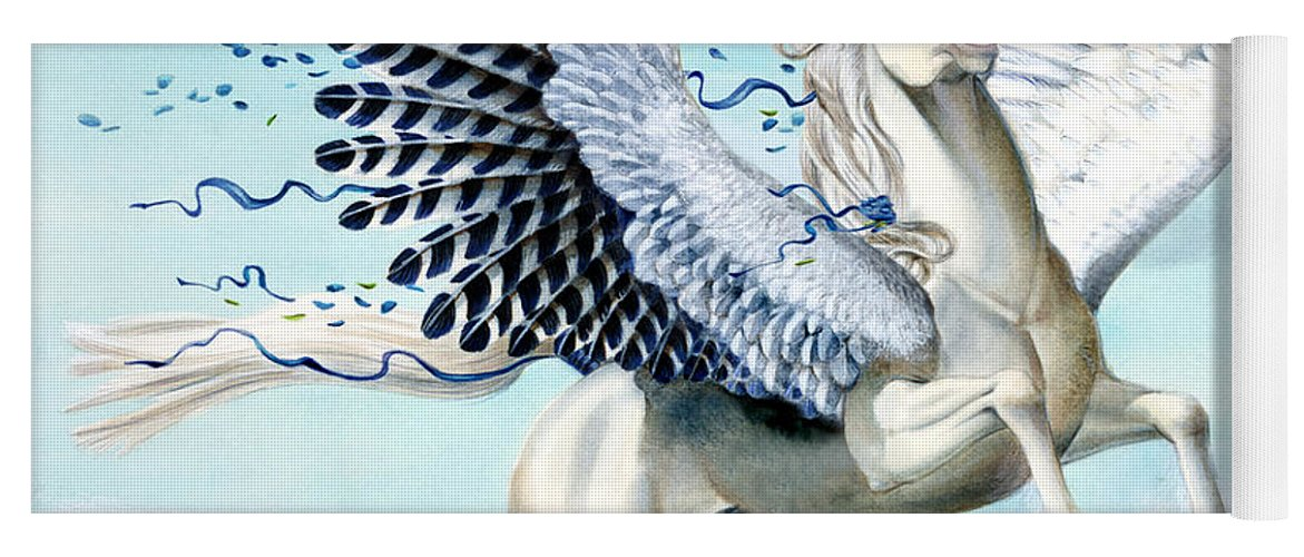 Artwork Yoga Mat featuring the painting Cory Pegasus by Melissa A Benson
