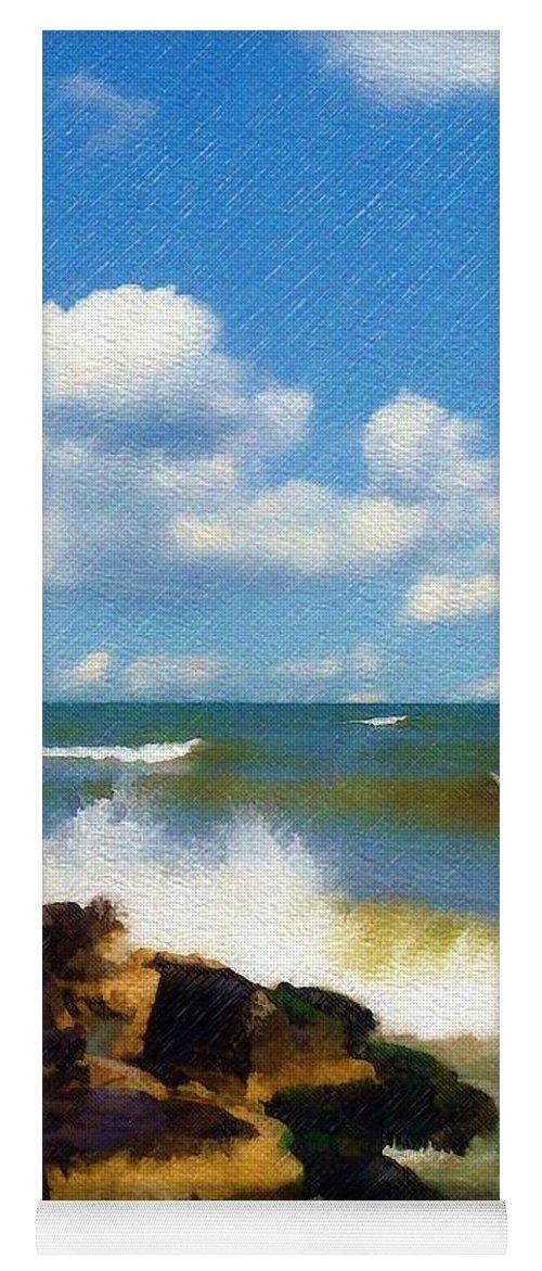 Seascape Yoga Mat featuring the photograph Crashing Into Shore by Sandy MacGowan