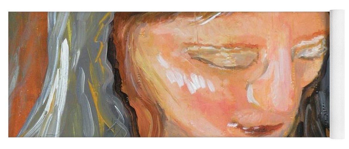 Angel Yoga Mat featuring the painting Cross for Maria by J Bauer