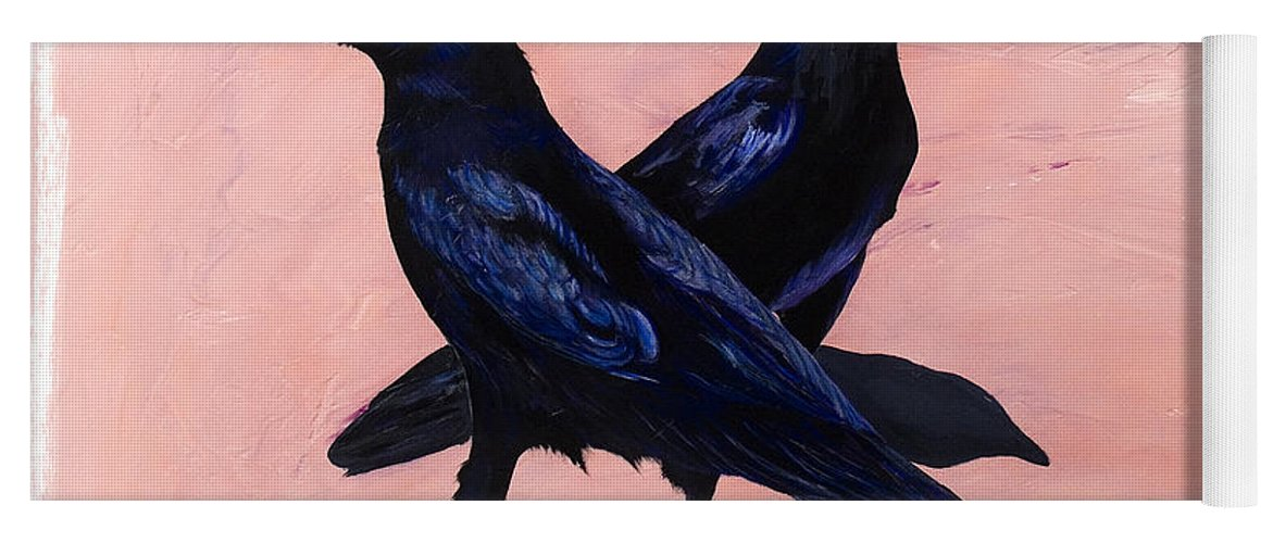 Crows Yoga Mat featuring the painting Crows by Sandi Baker