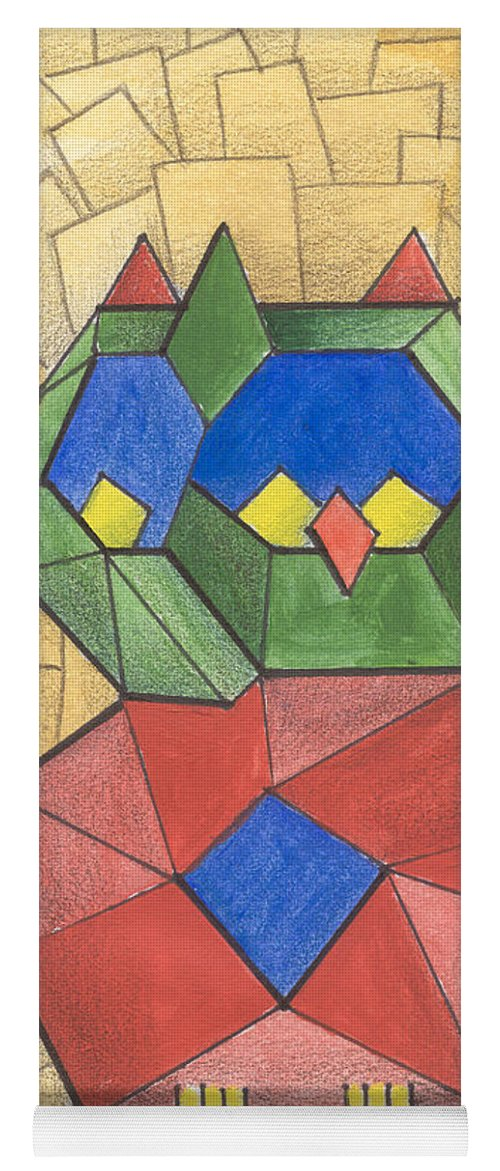 Owl Yoga Mat featuring the painting Cubist Owl by Lilibeth Andre