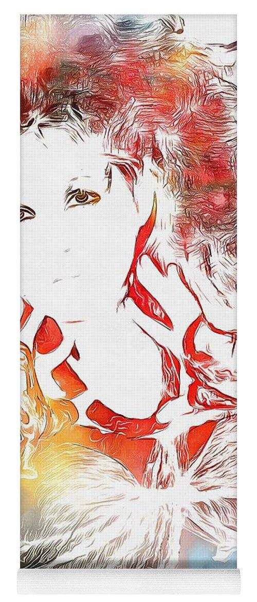 Cyndi Lauper Watercolor Yoga Mat featuring the painting Cyndi Lauper Watercolor by Dan Sproul