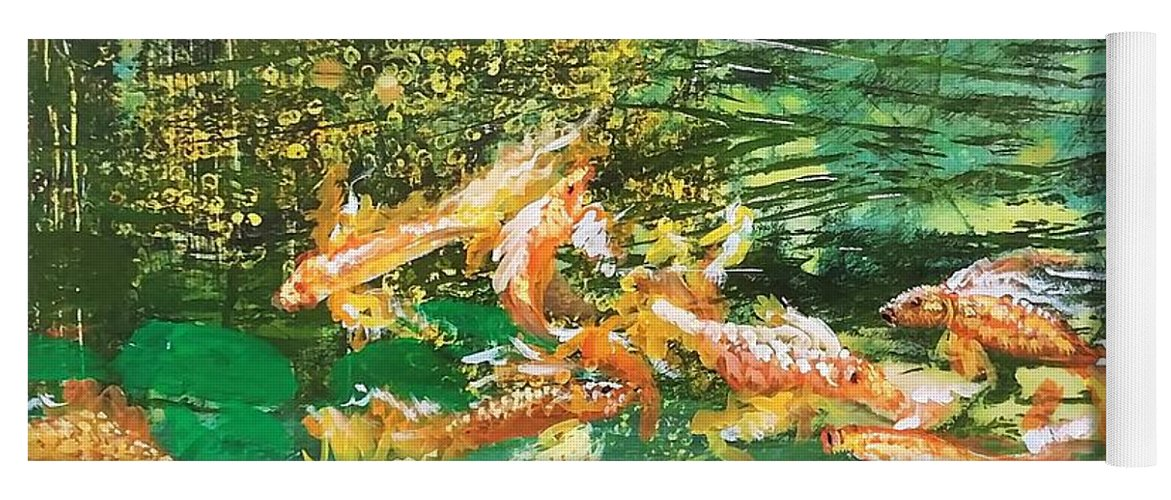 Gold Fish Yoga Mat featuring the painting Dance of Golden Angels by J Bauer