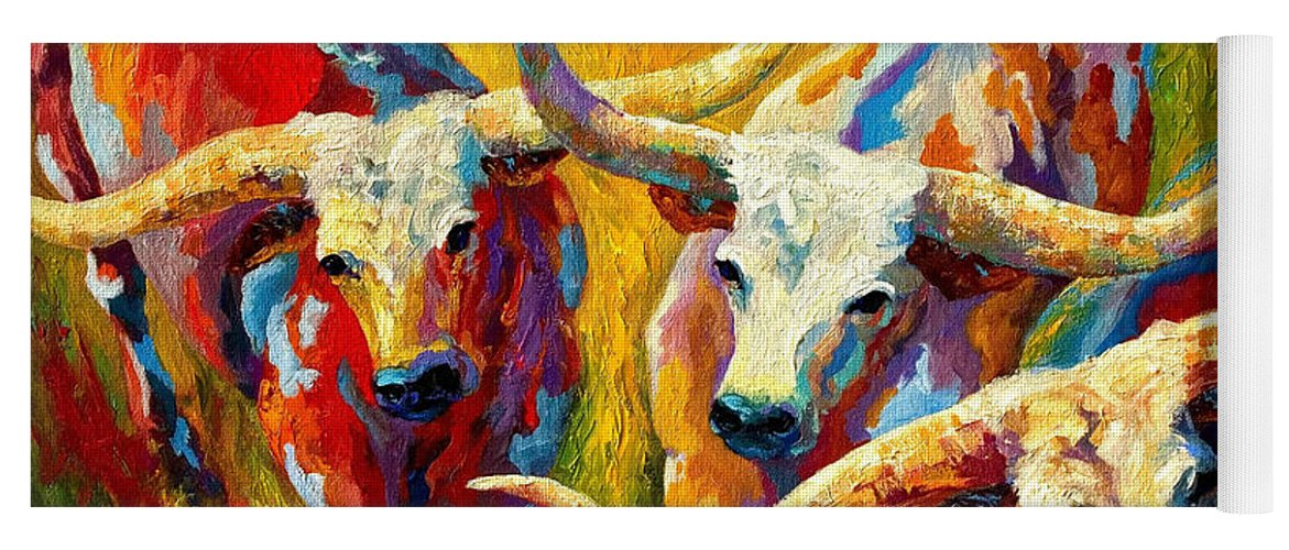 Western Yoga Mat featuring the painting Dance Of The Longhorns by Marion Rose