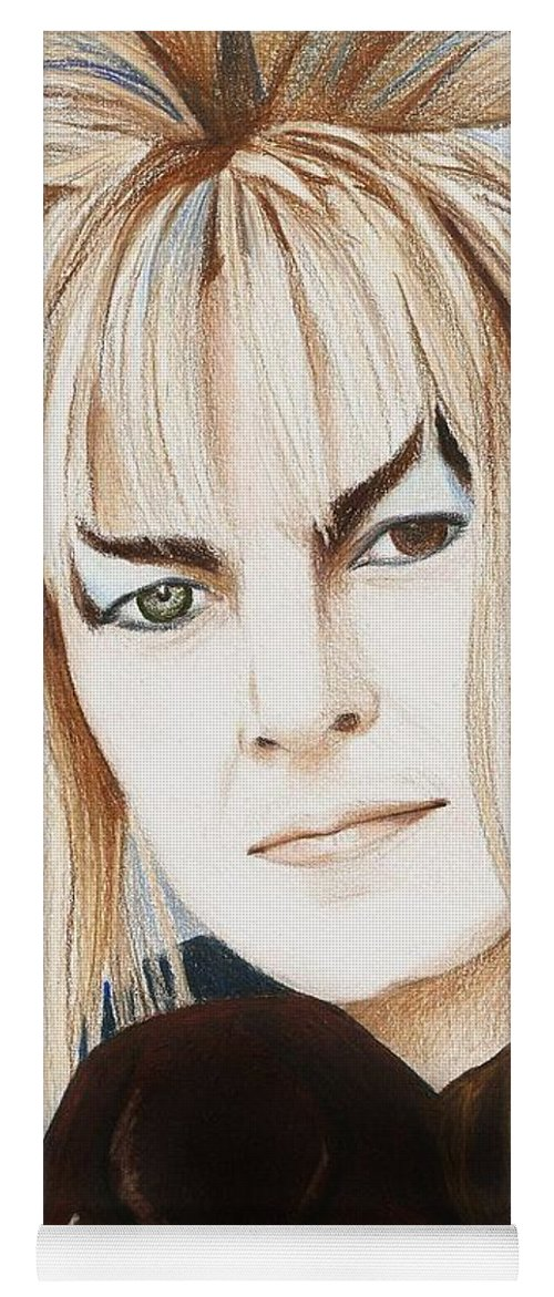 David Bowie Yoga Mat featuring the drawing David Bowie As Jareth by Amber Stanford