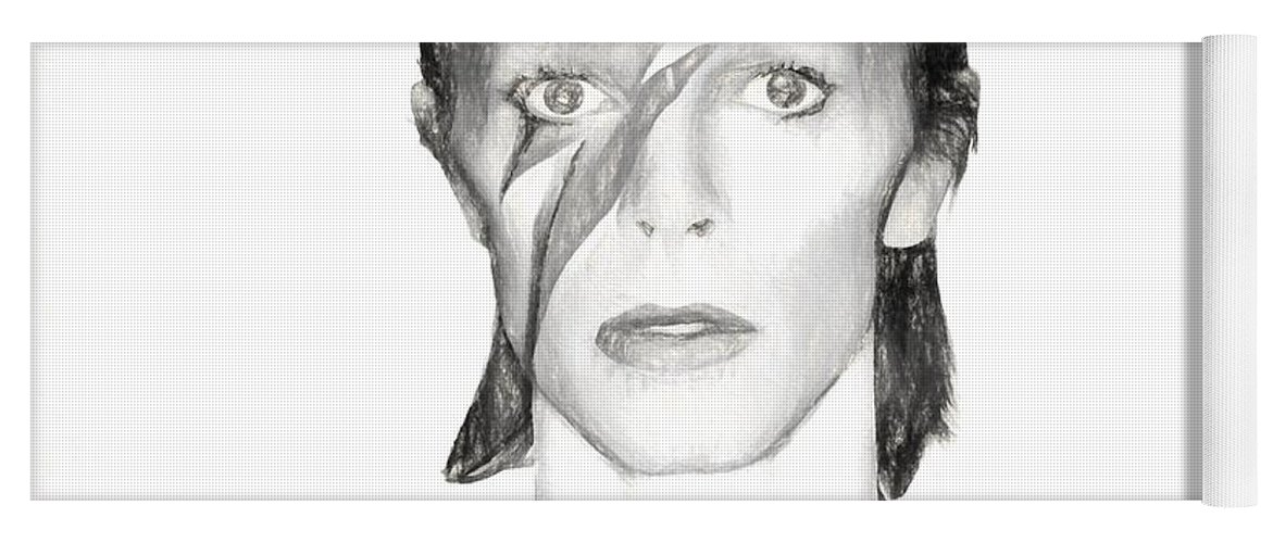 David Bowie Charcoal Yoga Mat featuring the mixed media David Bowie Charcoal by Dan Sproul