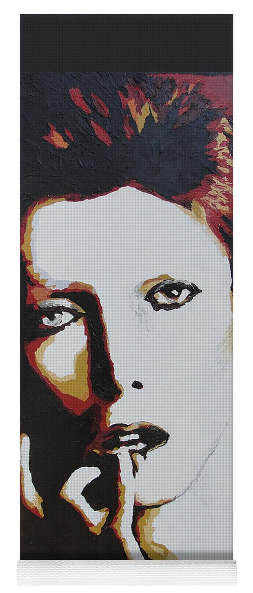 David Bowie Yoga Mat featuring the painting David Bowie by Ricklene Wren