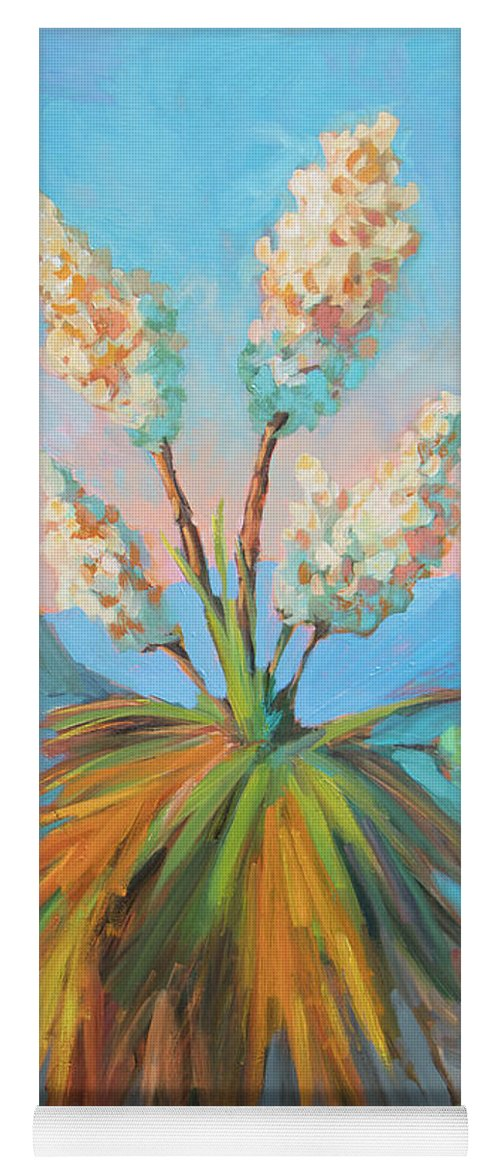 Desert Yoga Mat featuring the painting Dawn At Yuccaland by Diane McClary