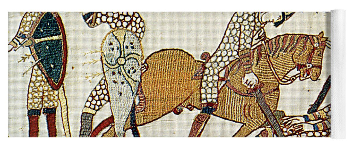 History Yoga Mat featuring the photograph Death Of Harold, Bayeux Tapestry by Photo Researchers