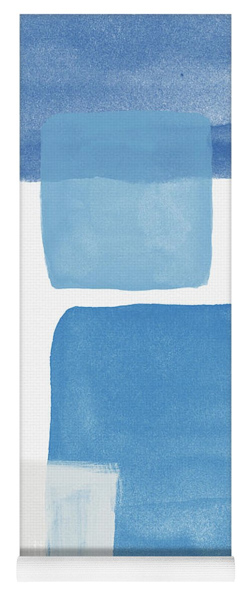 Blue Yoga Mat featuring the painting Deconstructed Blue Gingham 1- Art By Linda Woods by Linda Woods