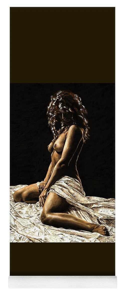 Nude Yoga Mat featuring the painting Defiance by Richard Young