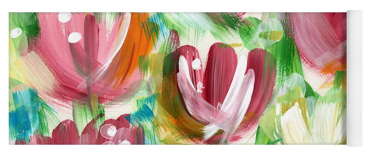 Tulips Yoga Mat featuring the painting Delightful Tulip Garden by Linda Woods