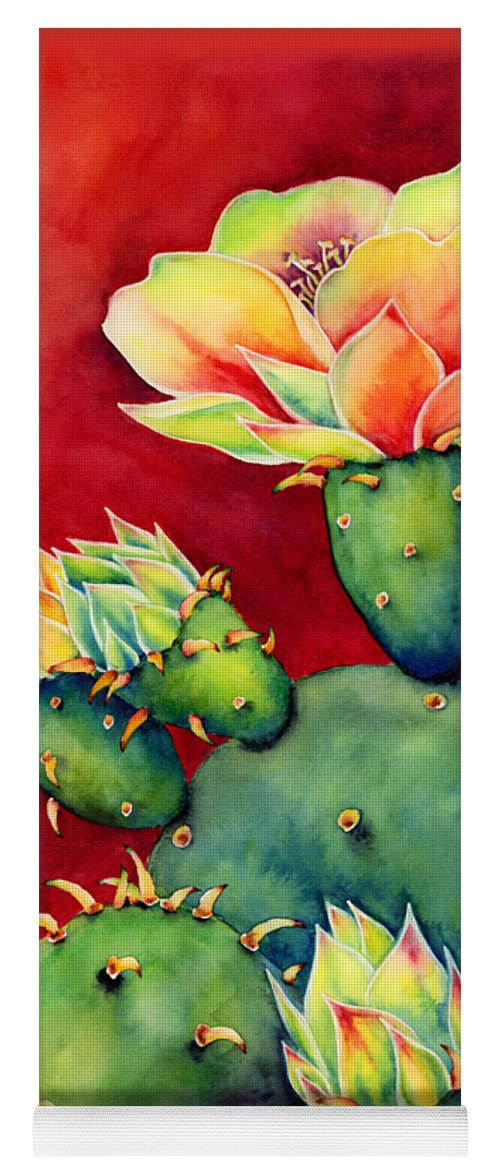 Cactus Yoga Mat featuring the painting Desert Bloom by Hailey E Herrera