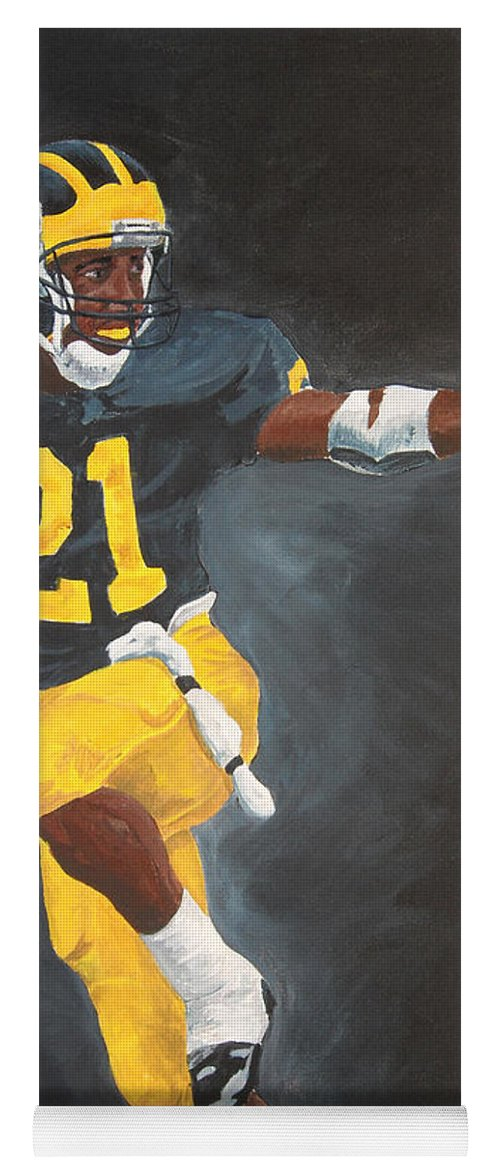 Desmond Howard Yoga Mat featuring the painting Desmond Heisman by Travis Day
