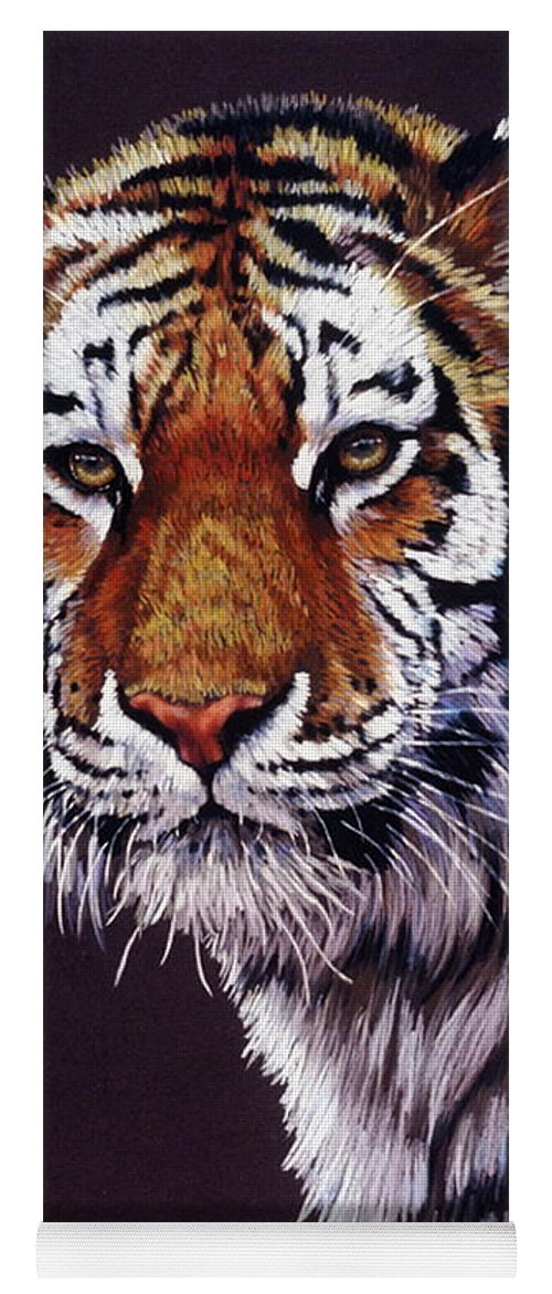 Tiger Yoga Mat featuring the drawing Desperado by Barbara Keith