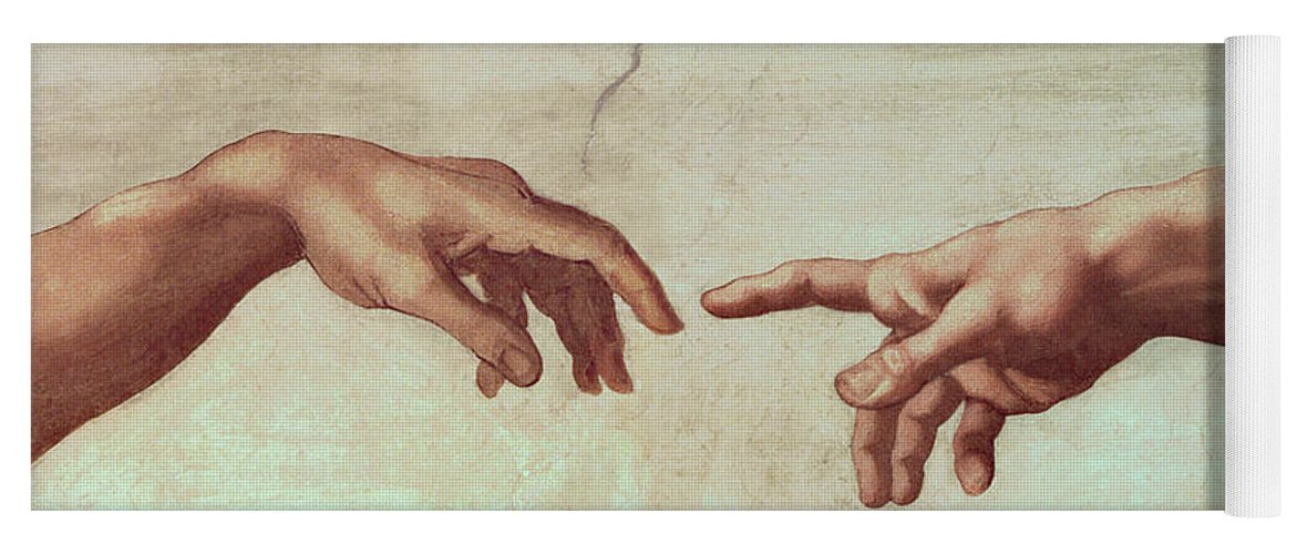 Hands Yoga Mat featuring the painting Detail From The Creation Of Adam by Michelangelo