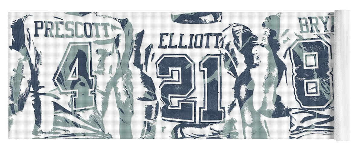 Dez Bryant Ezekiel Elliott Dak Prescott Dallas Cowboys Pixel Art Yoga Mat
