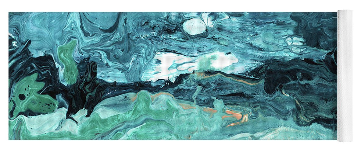 Abstract Yoga Mat featuring the mixed media Diving In- Abstract Art By Linda Woods by Linda Woods