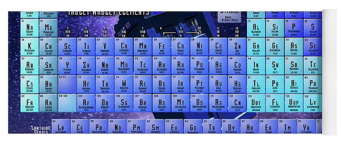 Doctor Who Periodic Table Of Elements Yoga Mat For Sale By Spencer