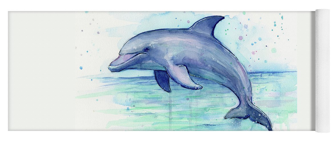 Dolphin Yoga Mat featuring the painting Dolphin Watercolor by Olga Shvartsur