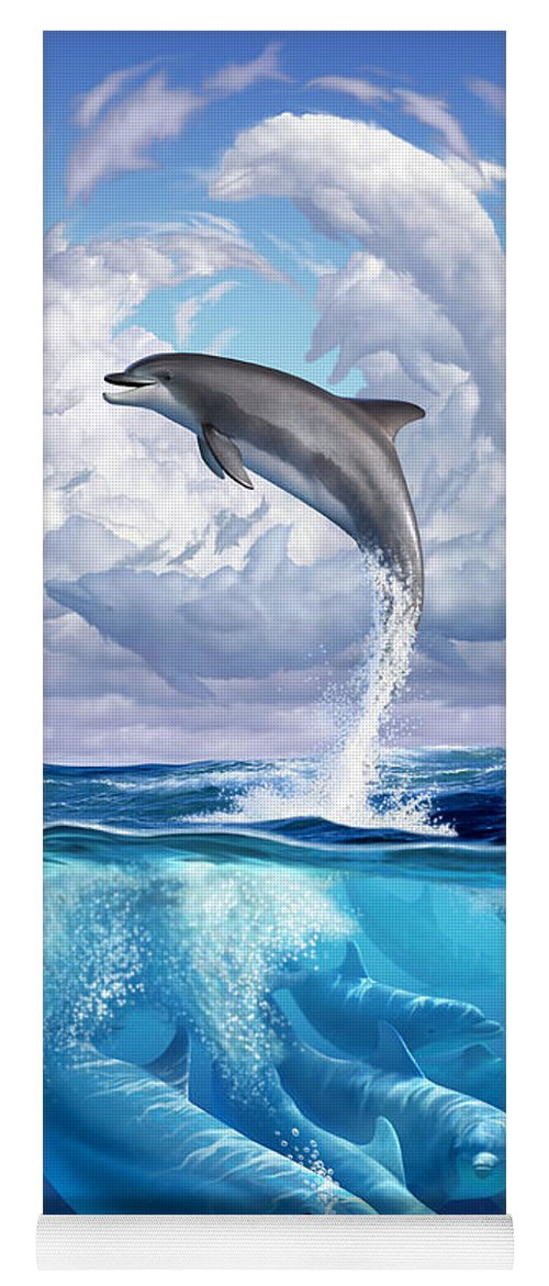 Dolphins Yoga Mat featuring the digital art Dolphonic Symphony by Jerry LoFaro