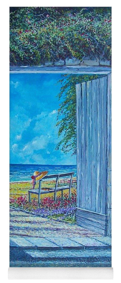 Original Painting Yoga Mat featuring the painting Doorway To ... by Sinisa Saratlic