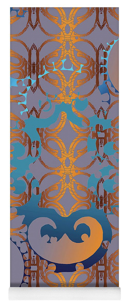 Blue And Gold Yoga Mat featuring the digital art Doro Dallas by Ceil Diskin