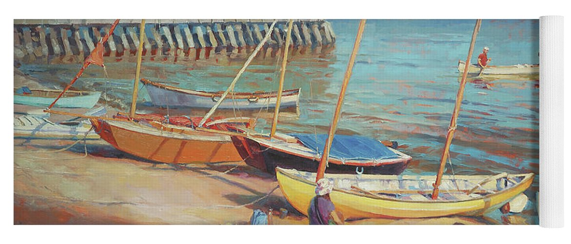 Landscape Yoga Mat featuring the painting Dory Beach by Steve Henderson