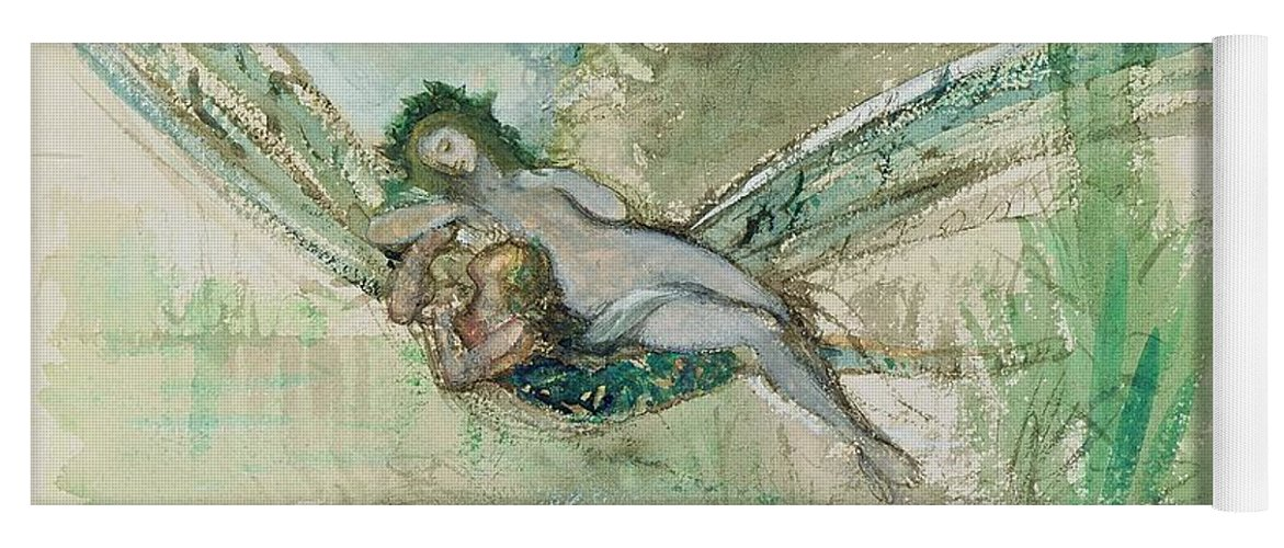 Dragonfly Yoga Mat featuring the painting Dragonfly by Gustave Moreau