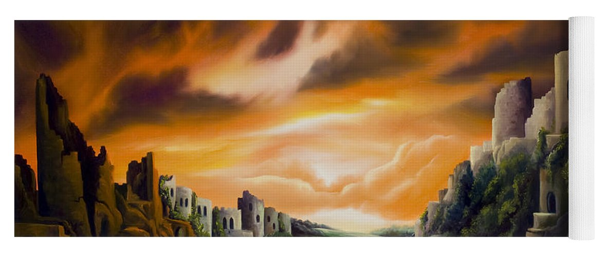 Ruins; Cityscape; Landscape; Nightmare; Horror; Power; Roman; City; World; Lost Empire; Dramatic; Sky; Red; Blue; Green; Scenic; Serene; Color; Vibrant; Contemporary; Greece; Stone; Rocks; Castle; Fantasy; Fire; Yellow; Tree; Bush Yoga Mat featuring the painting DualLands by James Christopher Hill