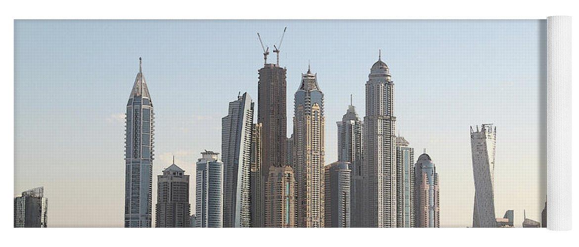 City Yoga Mat featuring the digital art Dubai City Skyline by Sandeep Gangadharan