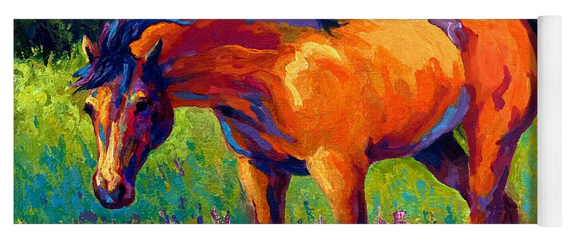 Horses Yoga Mat featuring the painting Dun Mare by Marion Rose