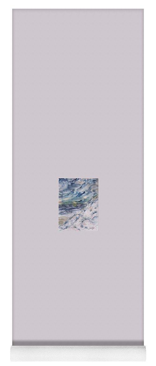 Seascape Yoga Mat featuring the painting Dunes 2 seascape painting poster print by Derek Mccrea