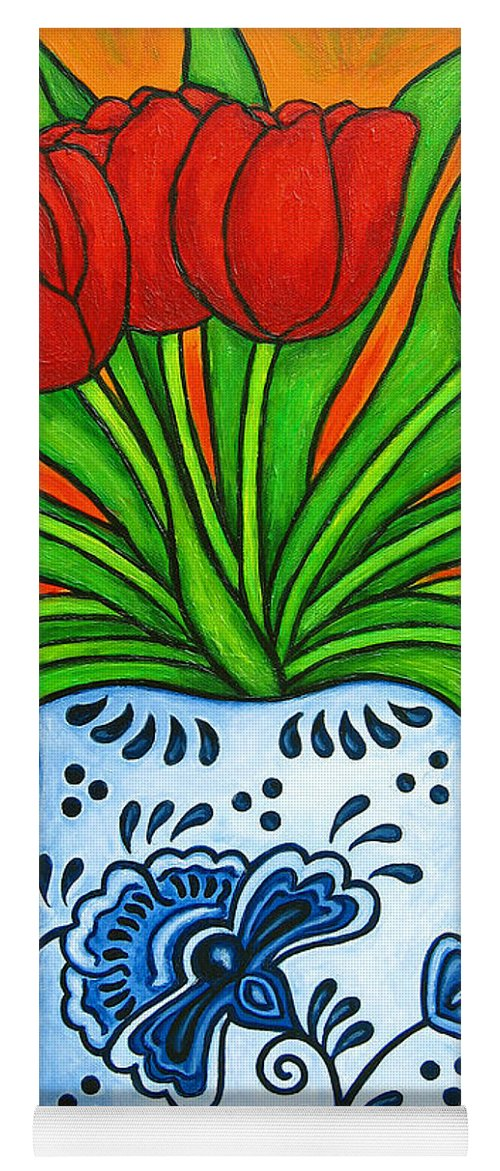 White Yoga Mat featuring the painting Dutch Delight by Lisa Lorenz