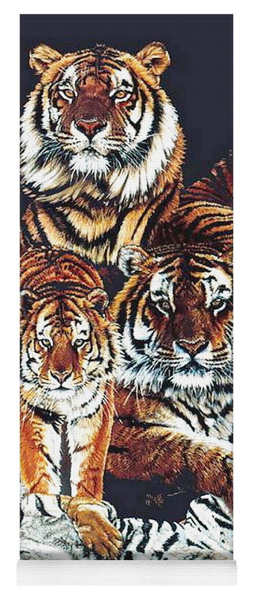 Tiger Yoga Mat featuring the drawing Dynasty by Barbara Keith