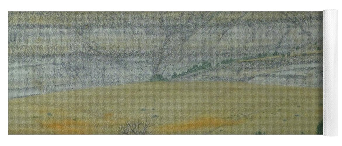 North Dakota Badlands Yoga Mat featuring the pastel Early May On The Western Edge by Cris Fulton
