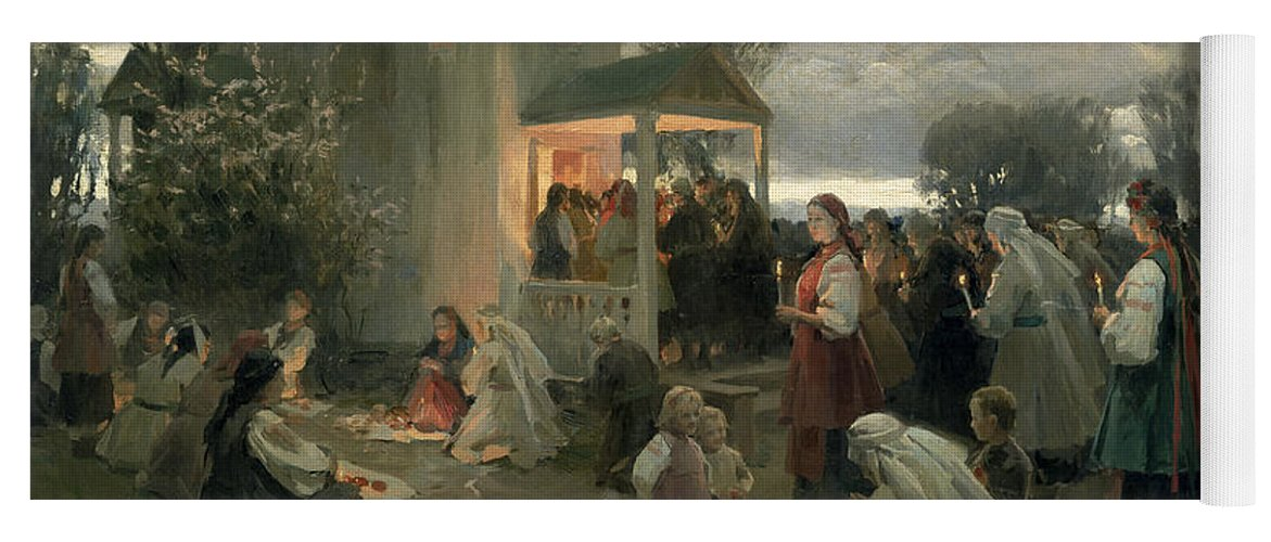 Easter Matins (oil On Canvas) By Nikolai Pimonenko (1862-1912) Yoga Mat featuring the painting Easter Matins by Nikolai Pimonenko