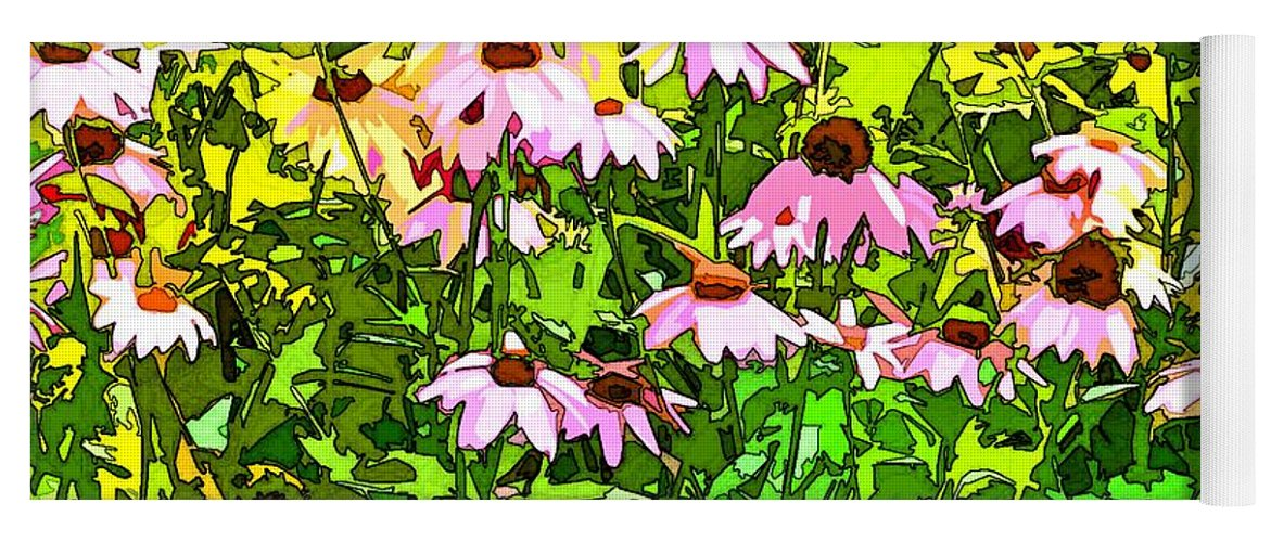 Contemporary Yoga Mat featuring the digital art Echinacea Imagined by Linda Mears