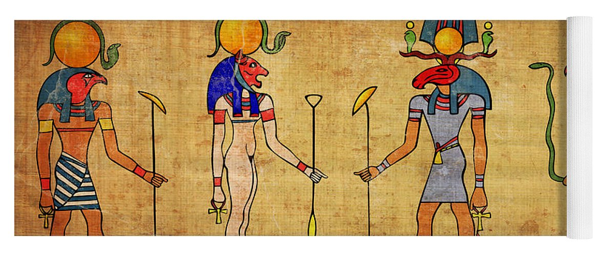 Egypt Yoga Mat featuring the digital art Egyptian Gods And Goddness by Michal Boubin