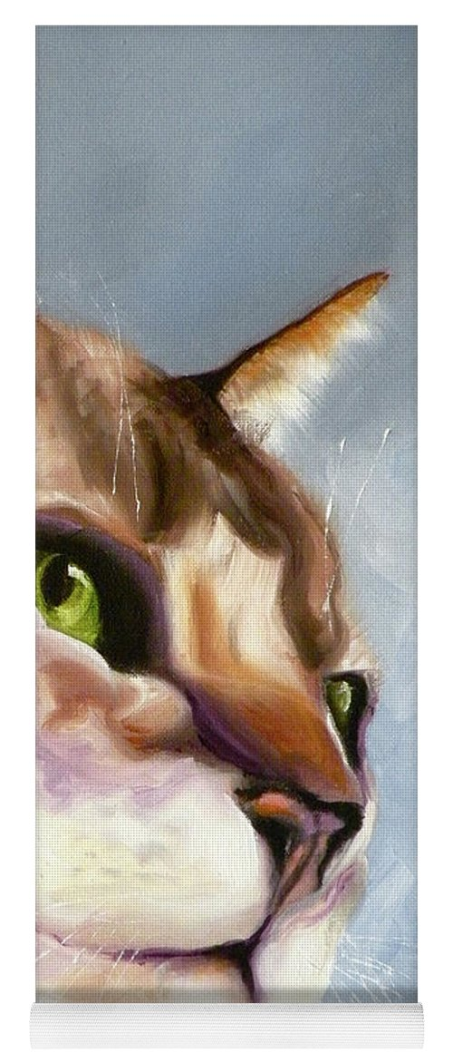 Cat Yoga Mat featuring the painting Egyptian Mau Princess by Susan A Becker