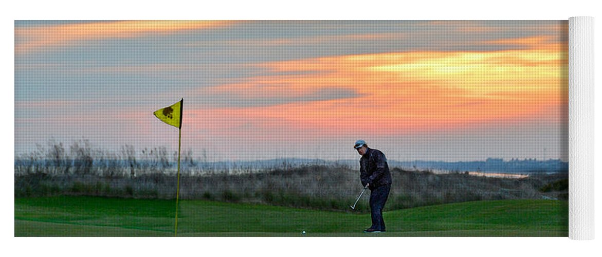 Golf Course Yoga Mat featuring the photograph Eighteenth Green At Sunset by Catherine Sherman