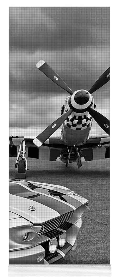 Old Ford Mustang Yoga Mat featuring the photograph Eleanor Mustang With P51 Black And White by Gill Billington