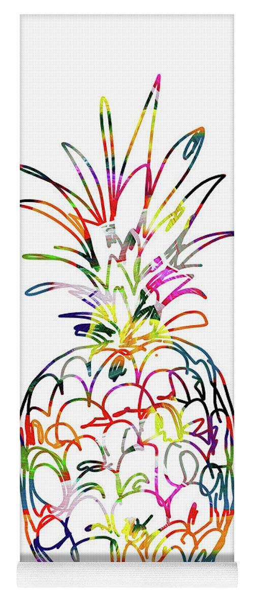 Pineapple Yoga Mat featuring the digital art Electric Pineapple - Art by Linda Woods by Linda Woods