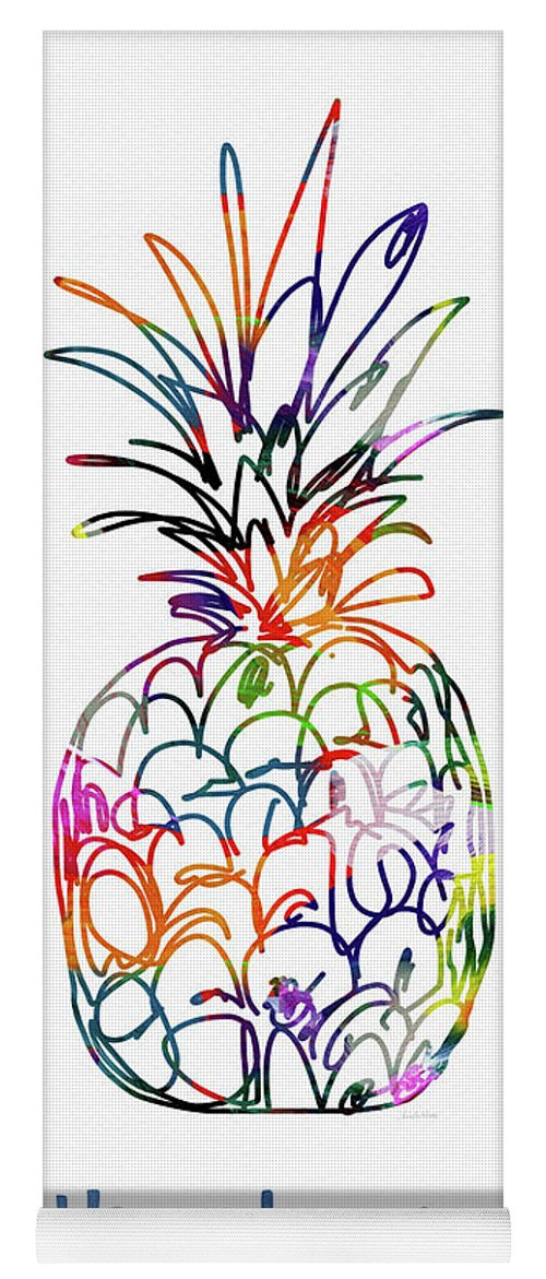 Pineapple Yoga Mat featuring the mixed media Electric Pineapple Thank You Card- Art by Linda Woods by Linda Woods