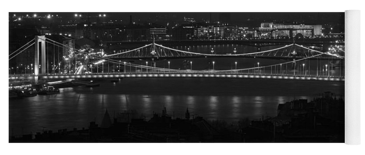 Joan Carroll Yoga Mat featuring the photograph Elizabeth And Liberty Bridges Budapest Bw by Joan Carroll